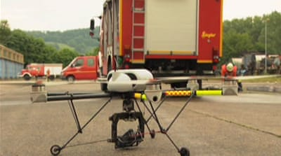 Civilian drones assist German firemen