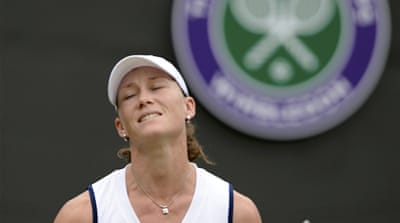 Fifth seed Stosur's defeat at the hands of Holland's Arantxa Rus, above, signals the worst performance by Australians at Wimbledon since the Open era [EPA]