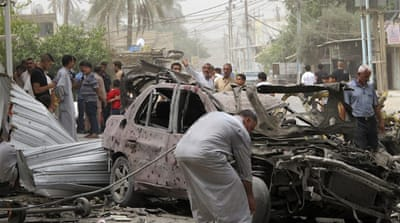 The deadliest bombing, at a market in Baghdad, killed at least eight people, according to police [Reuters]