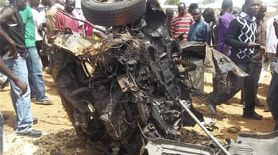 Sunday's car bombing occurred near a church on the outskirts of the northern city of Bauchi [Reuters]