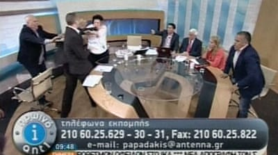 Greece election debate turns violent