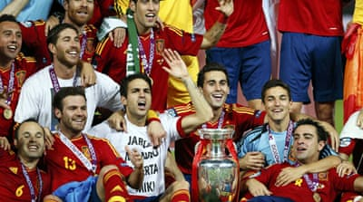 David Silva gave the Spanish the early boost they needed in the 14th minute as Vicente Del Bosque's side became the first team to retain the European title [EPA]