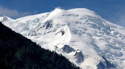 The avalanche swept down a mountainside in the Mont Blanc range near the Swiss border [AFP]