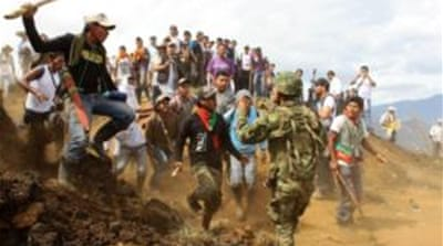 Clashes in Colombia over military post row