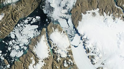 This is the second time in less than two years that the Petermann Glacier has calved a monstrous ice island [Reuters]