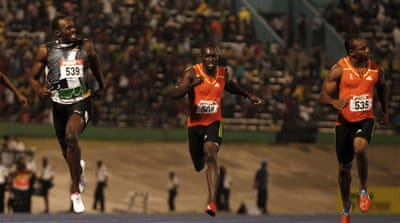 The Jamaican world record holder and Olympic champion Usain Bolt lost out to his training partner by 0.03 seconds in the 200m, but was gracious in defeat [EPA]