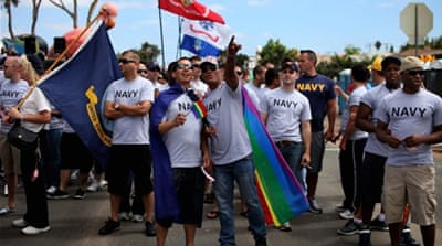 Previously only armed services veterans were allowed to wear their uniforms at gay parades, not those on duty [Getty]