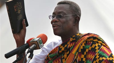 "Mills' campaign slogan ""A Better Man for a Better Ghana"" got him into the presidency in January 2009 [EPA]"