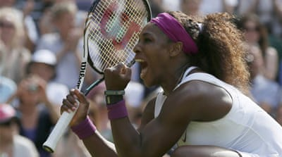 Williams finished the match with a Wimbledon record 24 aces, and won 20 of the 24 points on her serve in the first set [Reuters]