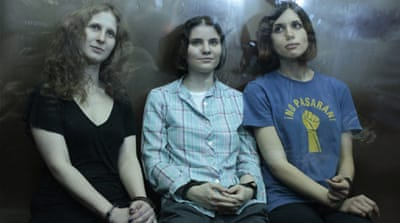 Three members of Pussy Riot were sentenced to two years in prison on charges of hooliganism [EPA]