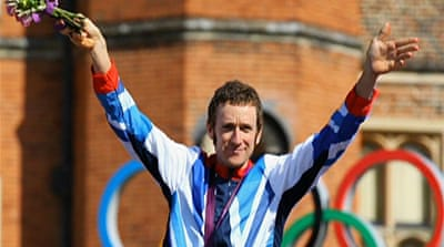 Britain's Bradley Wiggins takes gold