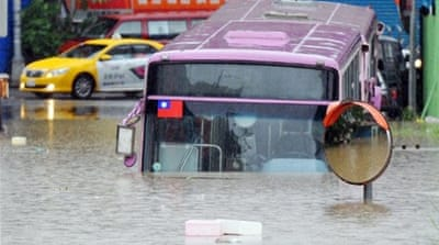 Tropical storm Saola washes over Taiwan