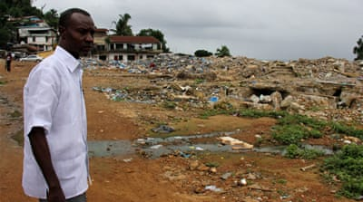Monrovia's Coconut Plantation squatter settlement was demolished in May 2012 [Travis Lupick/Al Jazeera]