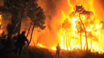 Forest fires burn across Europe