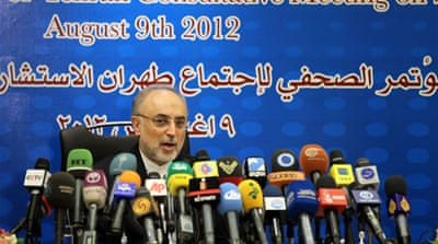 "Iranian Foreign Minister Ali Akbar Salehi said his country opposed ""any foreign interference"" in Syria [AFP]"