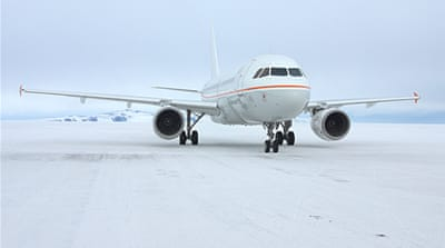 Australian government A319 Airbus succeeded in landing at McMurdo Station on the tip of Ross Island [AFP]