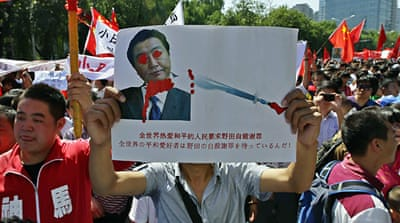 Demonstrators hurled eggs, rocks and bottles at Japan's embassy in Beijing [Reuters]