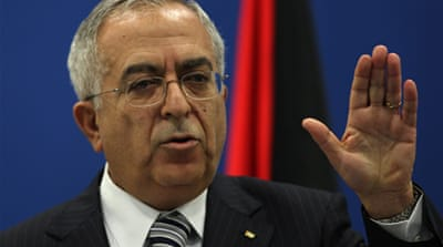 "The Palestinian protesters are blaming Prime Minister Salam Fayyad for the economic crisis, since ""every West Bank resident knows that the crisis is the result of the occupation"" [EPA]"