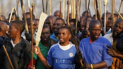 Workers continue to strike in Marikana, demanding a 300 per cent wage hike [Reuters]