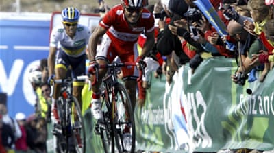 Rodriguez finished third behind Cataldo's teammate Thomas de Gendt to extend his lead over Contador to 28 seconds [EPA]