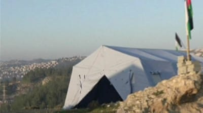 Activists erected the 20-tent Bab al Shams 'outpost' in a strategic West Bank corridor known as E-1 [File/AFP]