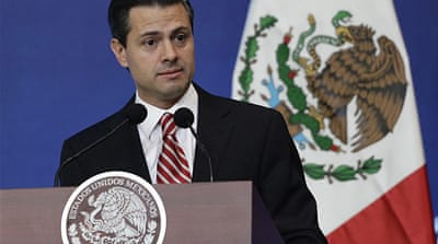 """Professional merit must be the only way to be hired"" in schools, said President Enrique Pena Nieto [Reuters]"