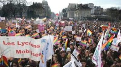 Gay rights supporters march in Paris
