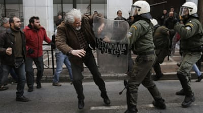 Police used pepper spray, batons and tear gas to in clashes with protesters outside the Labour Ministry [Reuters]