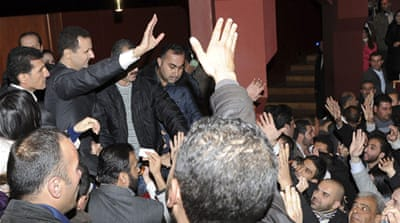 Supporters cheered the president after his speech at the Opera House in Damascus [Reuters/SANA]