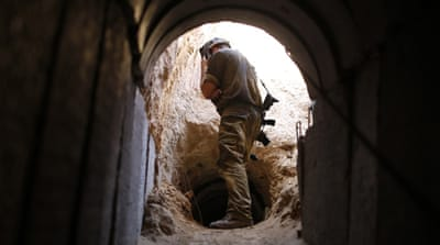 The Israeli army said the concrete tunnel was buried 18m underground and 1.7km long [EPA]