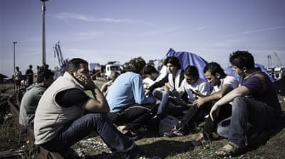 Several dozen Syrian refugees are squatting in Calais, France hoping to reach the UK [Samar Hazboun]