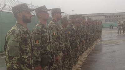 The first-ever class of the Afghan National Army Officer Academy in Kabul [Jennifer Glasse/Al Jazeera]