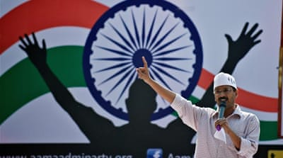 AAP made a dream debut, bagging 28 of the 70 seats in Delhi [AP]