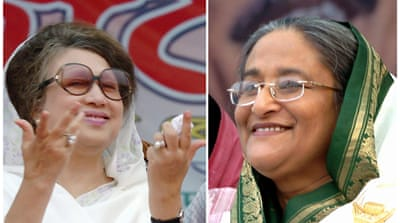 Khaleda, left, wants Hasina to make way for a caretaker government that will supervise next year's vote [AFP]