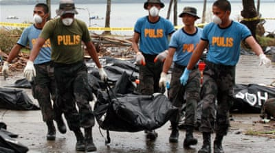 Stench of death lingers on Philippine island