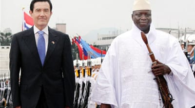 "President Yahya Jammeh, right, says Gambia wants to ""remain friends"" with Taiwanese people [EPA]"