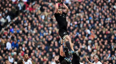 New Zealand's Kieran Read wins the ball in a line-out during the rugby union test match against England [AFP]