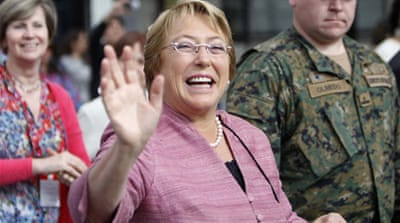 Chilean presidential candidate Michelle Bachelet wins first round presidential race with 47 percent of votes [Reuters]