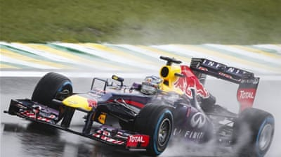 Sebastian Vettel powers his Red Bull-Renault in Sao Paulo, Brazil [AFP]