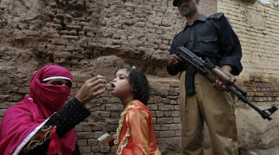 The kidnapped teachers were involved in a polio vaccination campaign for school children [EPA]