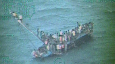 The boat was completely overloaded when it ran aground [Reuters]