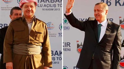 Iraqi Kurdistan President Massoud Barzani, left, held a meeting with Erdogan this week [Reuters]
