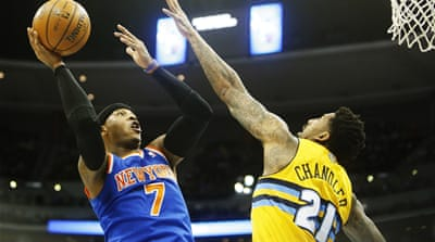 Carmelo Anthony had a chance to win the game against his former club the Denver Nuggets [Reuters]