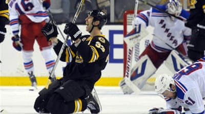 Zdeno Chara reacts after scoring against the  Rangers [Reuters/ Bob DeChiara-USA TODAY Sports]