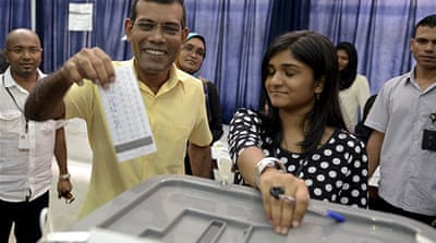 Ousted president Nasheed won 46.9 percent of Saturday's vote, official results showed [Reuters]