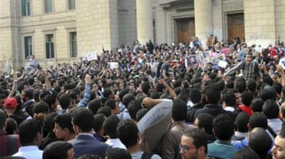 Student protesters were enraged by the death of Mohamed Reda, who was killed on November 28 [AP]