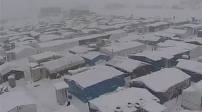 Snow storm causes misery for Syrian refugees