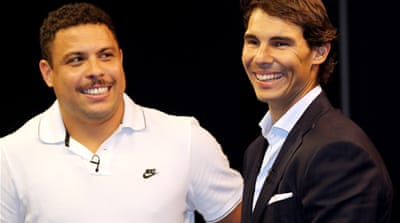 Nadal beat the top-ranked poker player as well as past football players Ronaldo and Shevchenko [Getty Images]