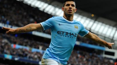 Sergio Aguero scored the opening goal of the match before the floodgates opened at the Etihad [AFP]
