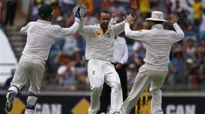 Brad Haddin celebrates the key wicket of Ben Stokes as England capitulated on day five in Perth [Reuters]